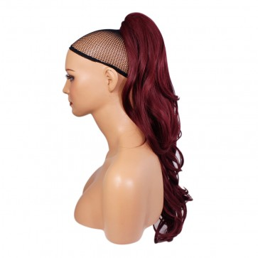 """22"""" PONYTAIL CURLY Burgundy REVERSIBLE Claw Clip"""
