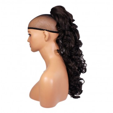 22 Inch Ponytail Curly Claw Clip - Dark Brown #4