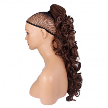 "22"" PONYTAIL CURLY Chocolate Brown #8 REVERSIBLE Claw Clip"