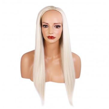 "22"" Ladies 3/4 WIG Half Fall STRAIGHT Platinum Blonde #16/60"