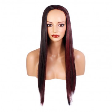 22 Inch Ladies 3/4 Wig Straight - Darkest Brown / Red Highlights