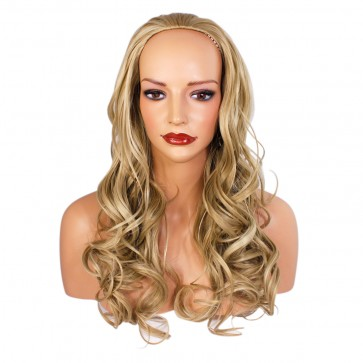 22 Inch Ladies 3/4 Wig Wavy - Ash Blonde Mix
