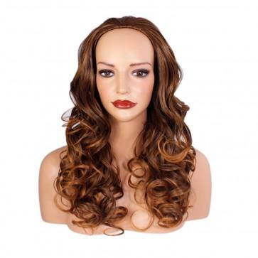 22 Inch Ladies 3/4 Wig Curly - Brown/Auburn Tips #6T30
