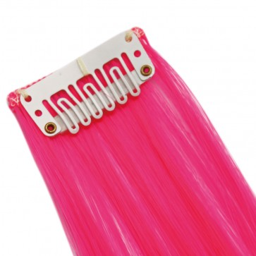 20 Inch Clip in Hair Extensions Straight Highlights - Neon Pink
