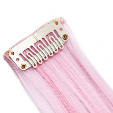 20 Inch Clip in Hair Extensions Straight Highlights - Baby Pink