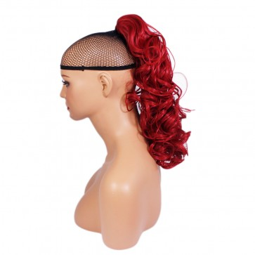 17 Inch Ponytail Curly Claw Clip - Pillar Red