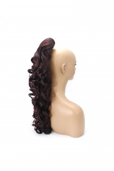 22 Inch Ponytail Curly Claw Clip - Dark Plum