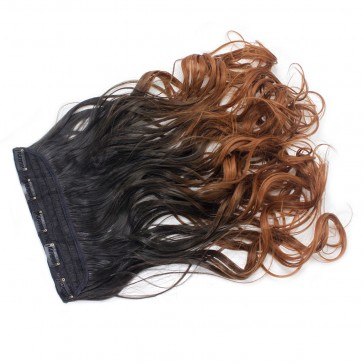 """22"""" Clip In ONE PIECE WAVY CURLY Extension 6/30 - Dark Brown/Auburn Ombre 1pc 5 Clips 120g"""