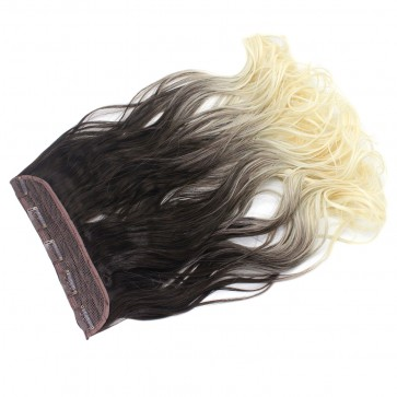 "22"" Clip In ONE PIECE WAVY CURLY Medium Brown/Bleach Blonde Ombre 1pc 5 Clips 120g T8/613"