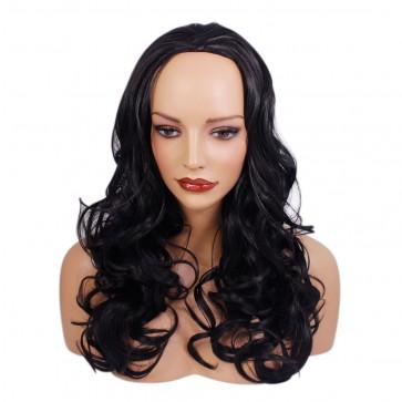 22 Inch Ladies 3/4 Wig Wavy - Natural Black