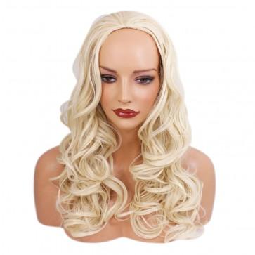 22 Inch Ladies 3/4 Wig Wavy - Swedish Blonde