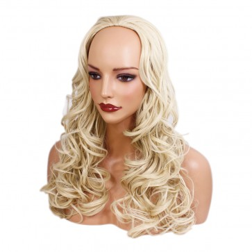 22 Inch Ladies 3/4 Wig Wavy - Lightest Blonde