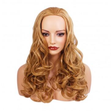 22 Inch Ladies 3/4 Wig Wavy - Dark Gold Blonde