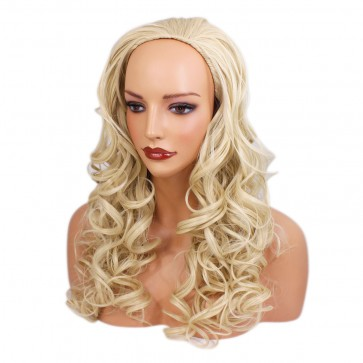 "22"" Ladies 3/4 WIG Half Fall CURLY Lightest Blonde #60"