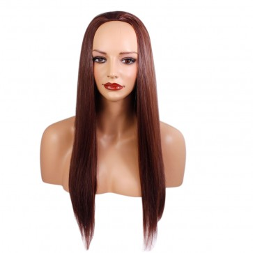 22 Inch Ladies 3/4 Wig Straight - Dark Auburn