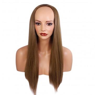 22 Inch Ladies 3/4 Wig Straight - Light Chocolate Brown #12/18