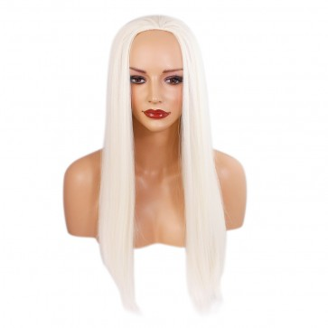 "22"" Ladies 3/4 WIG Half Fall STRAIGHT White Blonde #60M"