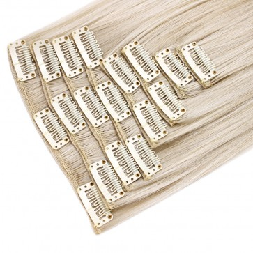 "18"" Clip in Hair Extensions STRAIGHT Platinum Blonde #16/60 FULL HEAD 8pcs"