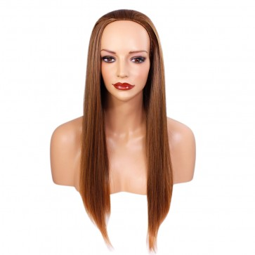 22 Inch Ladies 3/4 Wig Straight - Brown/Auburn Tips #6T30