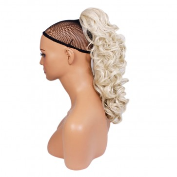 "17"" PONYTAIL CURLY Platinum Blonde #16/60 REVERSIBLE Claw Clip"