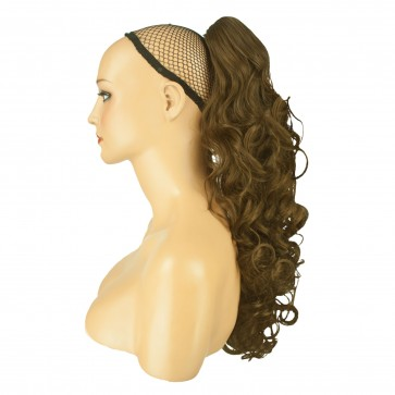 """22"""" PONYTAIL CURLY Light Ash Brown #10 REVERSIBLE Claw Clip"""