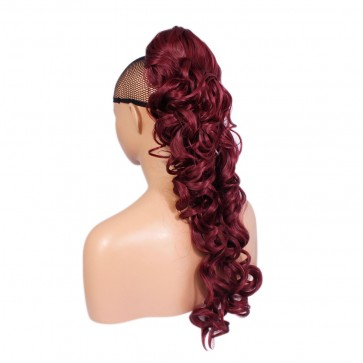 22 Inch Ponytail Curly Claw Clip - Burgundy