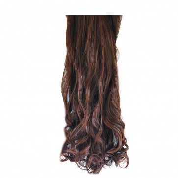 22 Inch Clip in Hair Extensions Curly 8pcs - Chestnut Brown