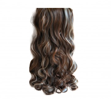 """20/22"""" Clip in Hair Extensions CURLY Medium Brown/Blonde Mix #6/613 FULL HEAD 8pcs"""