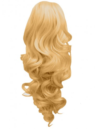 22 Inch Ponytail Curly - Golden Blonde #26 Claw Clip