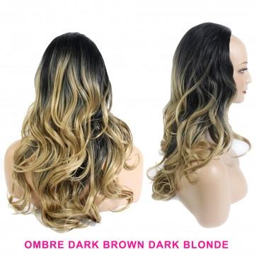 22 Inch Ladies 3/4 Wig Wavy - Dark Brown / Dark Blonde Ombre