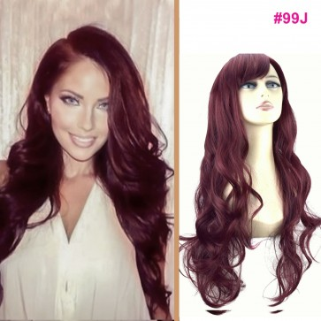 "22"" Ladies Full WIG Long Hair Piece WAVY Cheryl Cole Red #99J"