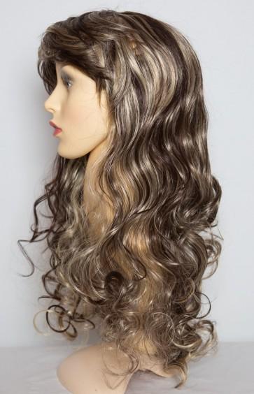 """22"""" Ladies Full WIG Clip In Hair CURLY Dark Brown/Blonde Mix #4/613"""