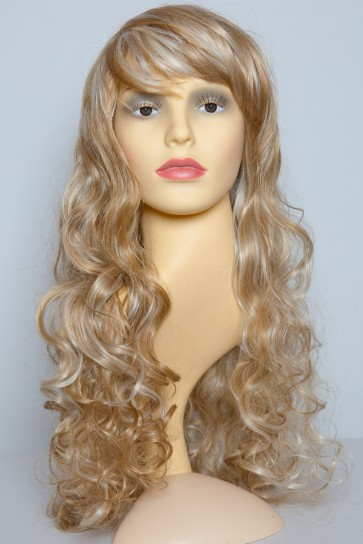 """22"""" Ladies Full WIG Clip In Hair Piece CURLY Strawberry Blonde Mix #27/613"""