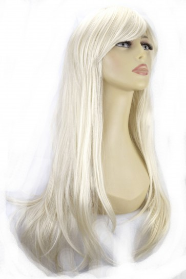 "20"" Ladies Full WIG Long Hair Piece FLICK Style Platinum Blonde #16/60"