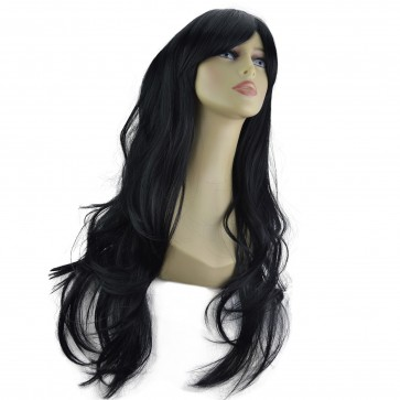 "20"" Ladies Full WIG Long Hair Piece FLICK Jet Black #1"