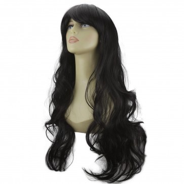 "22"" Ladies Full WIG Long Hair Piece LOOSE WAVES Jet Black #1"