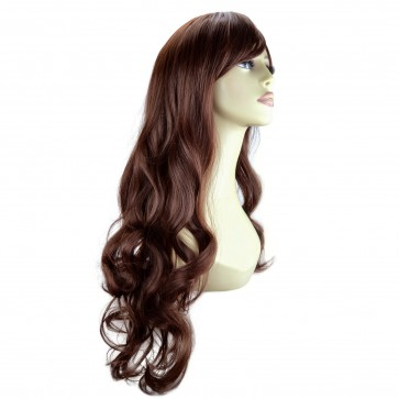 "22"" Ladies Full WIG Long Hair Piece LOOSE WAVES Dark Auburn #33"