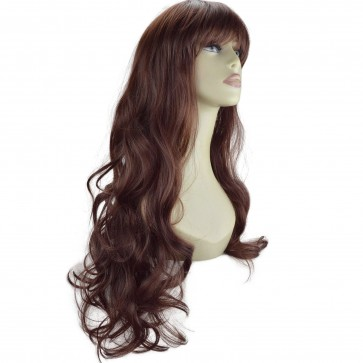 "22"" Ladies Full WIG Long Hair Piece WAVY Dark Auburn #33"