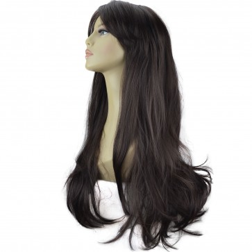 "20"" Ladies Full WIG Long Hair Piece FLICK Style Dark Brown #4"