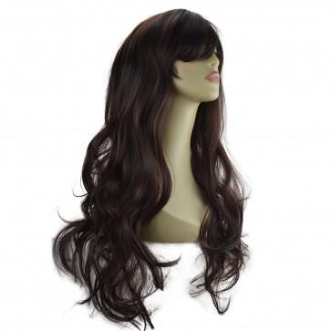 """22"""" Ladies Full WIG Long Hair Piece LOOSE WAVES Dark Brown #4"""
