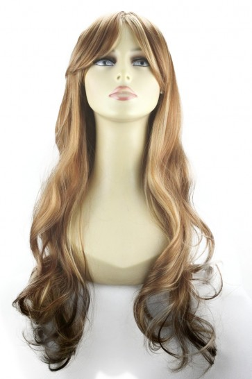 "22"" Ladies Full WIG Long Hair Piece WAVY Medium Brown/Blonde #6/613"