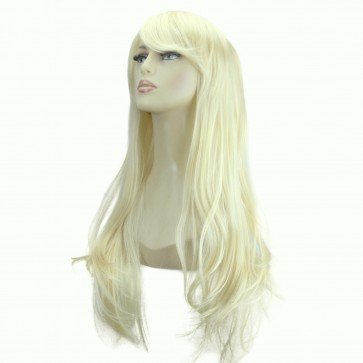 "20"" Ladies Full WIG Long Hair Piece FLICK Style Lightest Blonde #60"