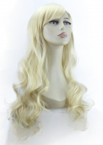 "22"" Ladies Full WIG Long Hair Piece LOOSE WAVES Lightest Blonde #60"