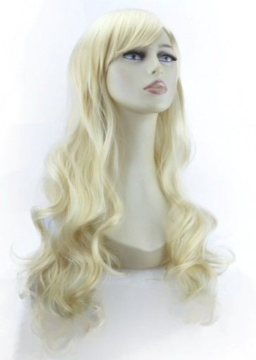 "22"" Ladies Full WIG Long Hair Piece WAVY Lightest Blonde #60"