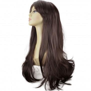 """20"""" Ladies Full WIG Long Hair Piece FLICK Style Medium Brown #6"""