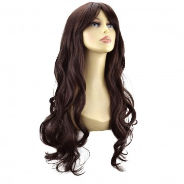 "22"" Ladies Full WIG Long Hair Piece LOOSE WAVES Medium Brown #6"