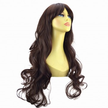 "22"" Ladies Full WIG Long Hair Piece WAVY Medium Brown #6"