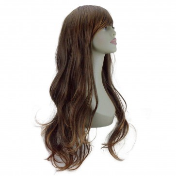 "20"" Ladies Full WIG Long Hair Piece FLICK Style Brown/Auburn Tips #6/30"
