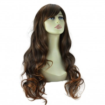 "22"" Ladies Full WIG Long Hair Piece WAVY Brown/Auburn Tips #6/30"