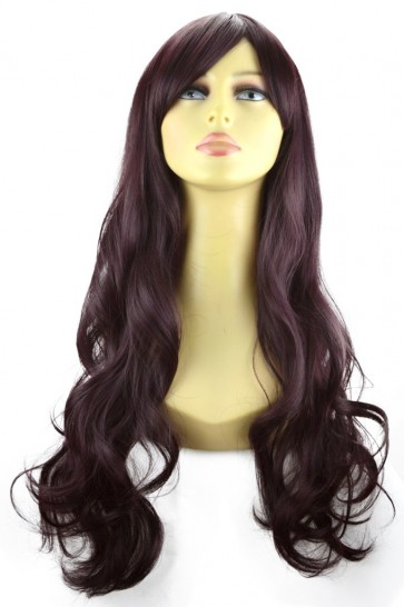 "22"" Ladies Full WIG Long Hair Piece LOOSE WAVES Dark Plum #99J/1"